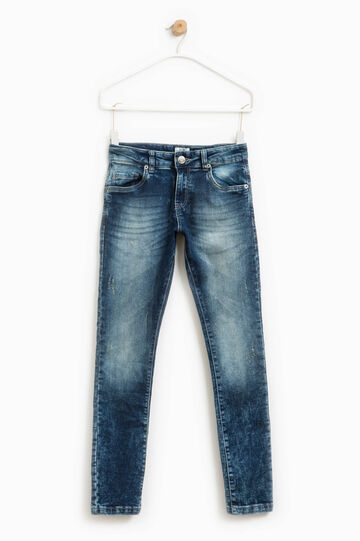 Worn-effect stretch jeans, Blue, hi-res