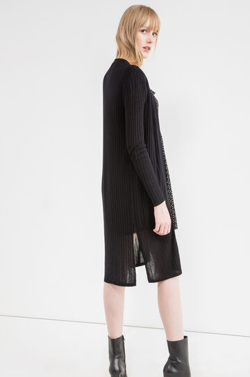 Open ribbed cardigan, Black, hi-res