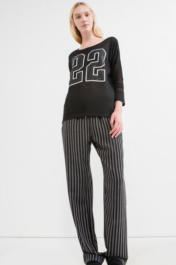 Patterned stretch sweatshirt, Black, hi-res