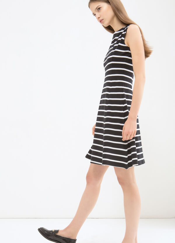 Striped short dress in cotton blend | OVS