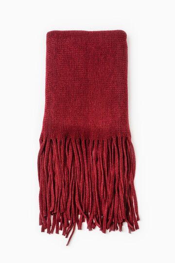 Solid colour knitted scarf with fringe, Red, hi-res
