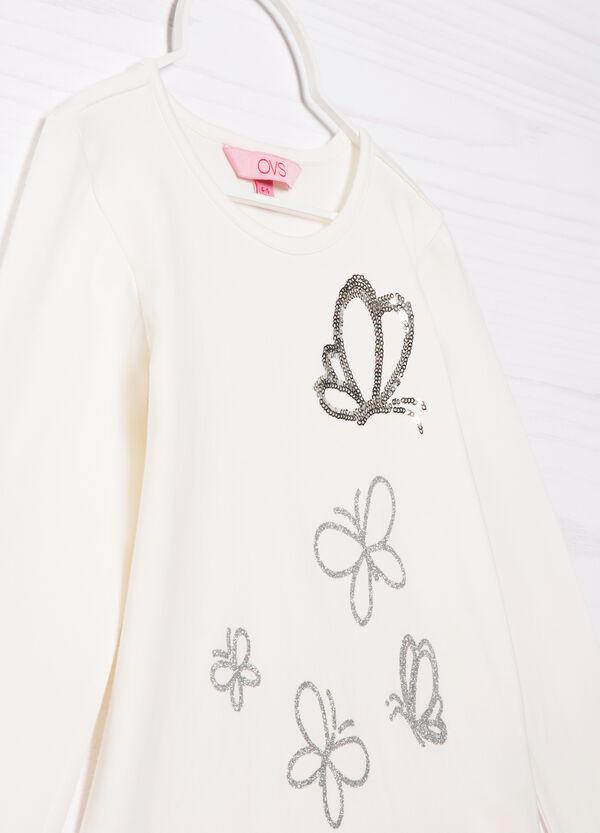 T-shirt cotone stretch con paillettes | OVS
