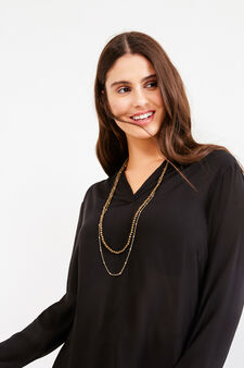 Curvy blouse in viscose blend with necklace, Black, hi-res