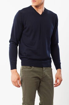 Pullover in wool blend, Navy Blue, hi-res
