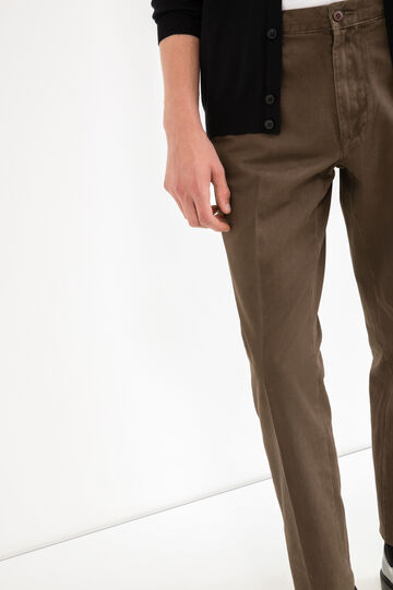 100% cotton trousers with crease, Brown, hi-res