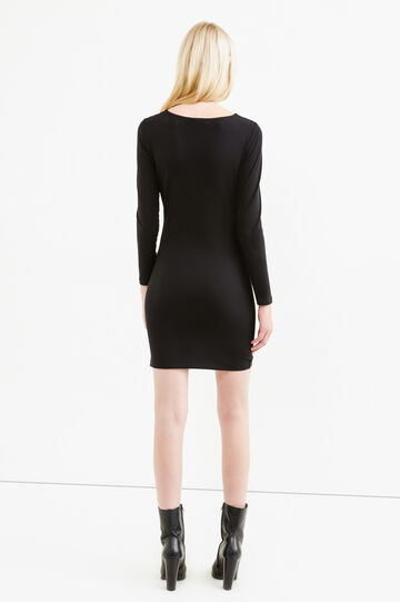 Stretch cotton dress with diamanté design, Black, hi-res