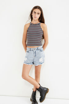 Teen striped top with cross-over hem, White, hi-res