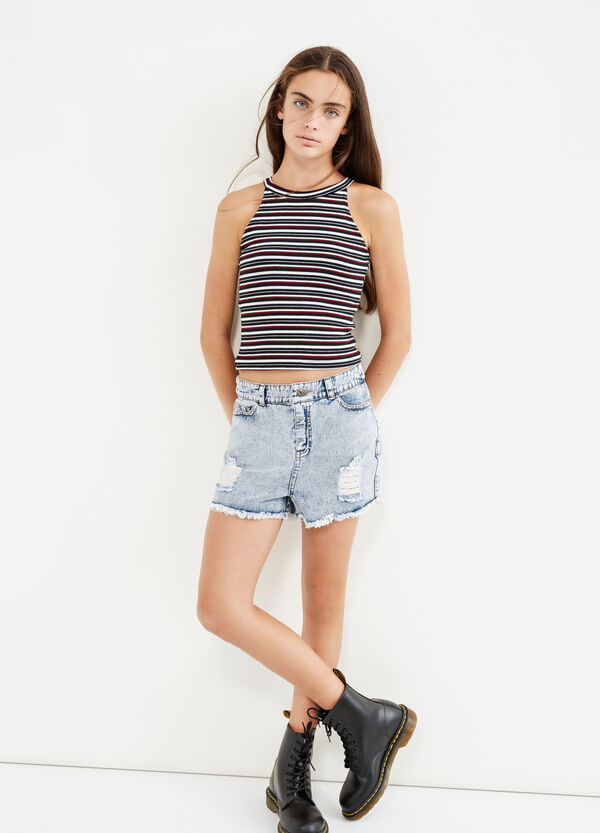 Teen striped top with cross-over hem | OVS