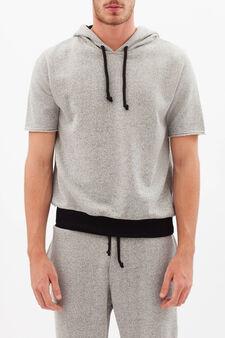 Sweatshirt with hood and drawstring., Grey Marl, hi-res