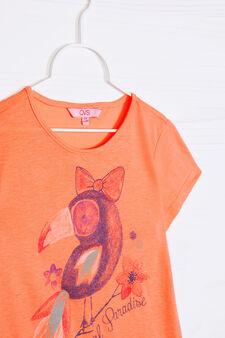 Printed T-shirt in 100% cotton, Neon Orange, hi-res