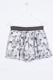 Viscose skirt with leopard print, White, hi-res