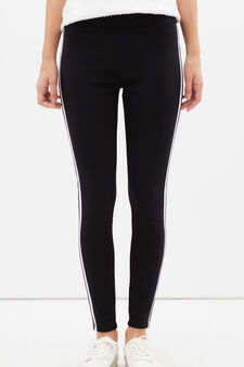 Stretch gym pants with contrasting stripes, Black, hi-res