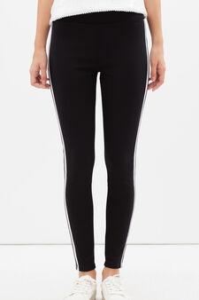 Pantaloni sportivi stretch con bande a contrasto, Nero, hi-res