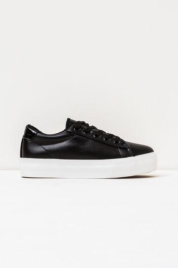 Sneakers tinta unita suola in gomma, Nero, hi-res