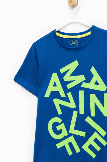 Lettering print cotton T-shirt, Royal Blue, hi-res