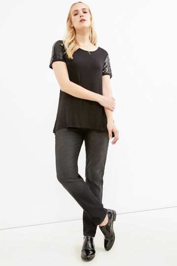 Curvy T-shirt with sleeves and sequins, Black, hi-res