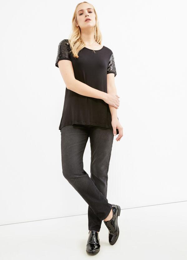 Camiseta Curvy con lentejuelas en las mangas | OVS