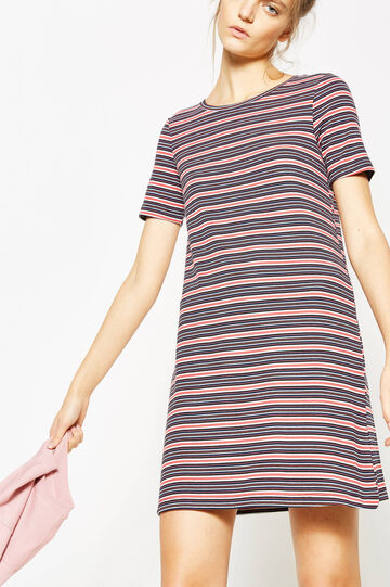 Stretch striped ribbed viscose dress