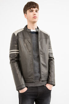 Faux leather jacket with Mandarin collar, Black, hi-res
