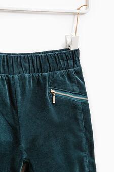 Pantaloni cotone stretch tinta unita, Verde ottanio, hi-res