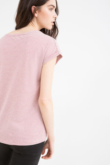 Striped T-shirt in blended cotton, Grey/Red, hi-res