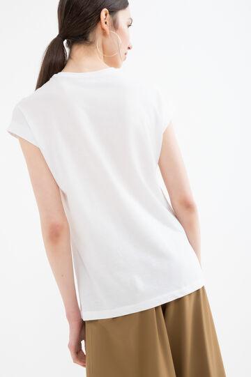 Solid colour cotton blend T-shirt, Milky White, hi-res