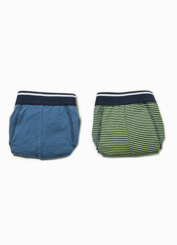 Two-pack solid colour and striped pattern briefs | OVS
