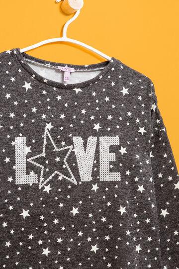 Jersey en mezcla de algodón con estrellas, Negro/Blanco, hi-res