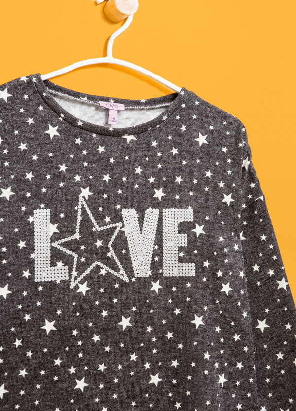 Pullover with sequins and stars pattern | OVS