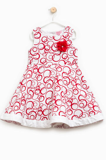 Geometric patterned dress with flower, White/Red, hi-res