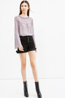 Long-sleeved blouse with lace, Mauve, hi-res