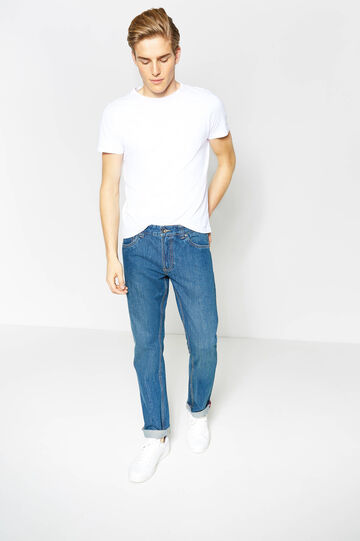 Regular-fit jeans with seams in contrasting colour, Medium Wash, hi-res
