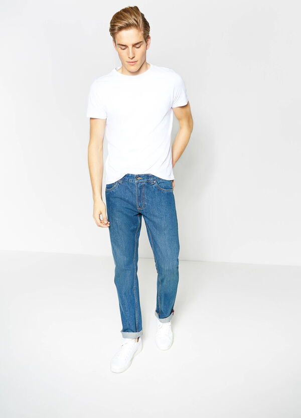 Regular-fit jeans with seams in contrasting colour | OVS