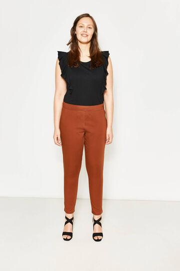 Curvy stretch cotton trousers, Cognac Brown, hi-res