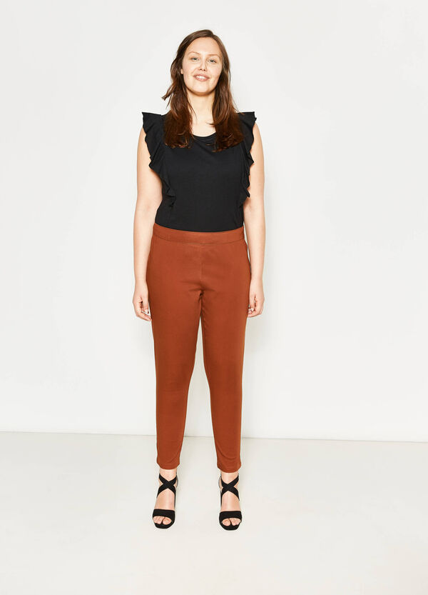 Curvy stretch cotton trousers | OVS