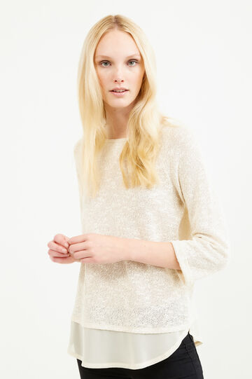 Knit T-shirt in stretch cotton, Cream, hi-res