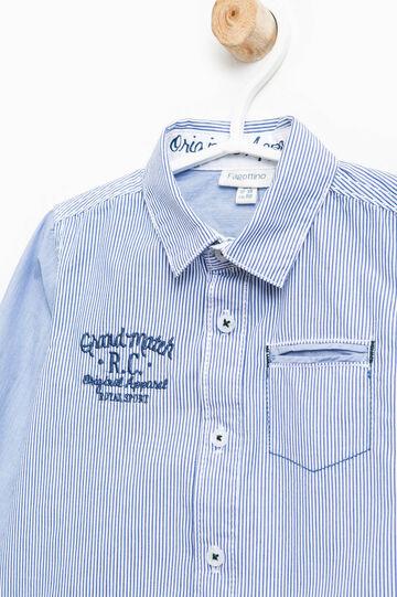 Camisa de rayas con bordados y bolsillos, Azul/Celeste, hi-res