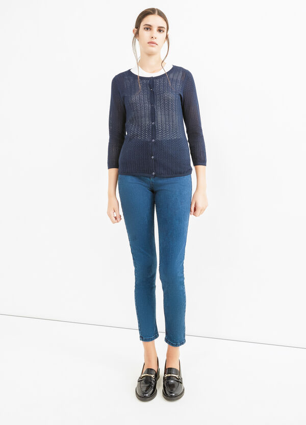 Solid colour knitted cotton cardigan | OVS