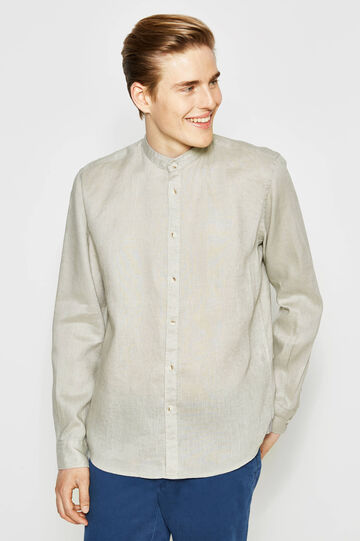 Camicia casual in lino inserti fantasia
