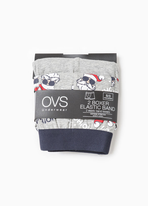 Two-pack boxer shorts solid colour and Father Christmas | OVS