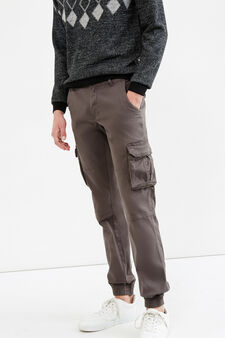 Solid colour jogger-fit cotton trousers, Grey, hi-res