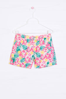 Patterned shorts in 100% cotton, Neon Pink, hi-res