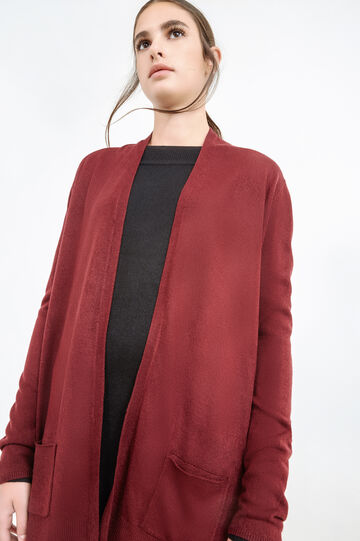 Long cardigan with twin pocket, Aubergine, hi-res