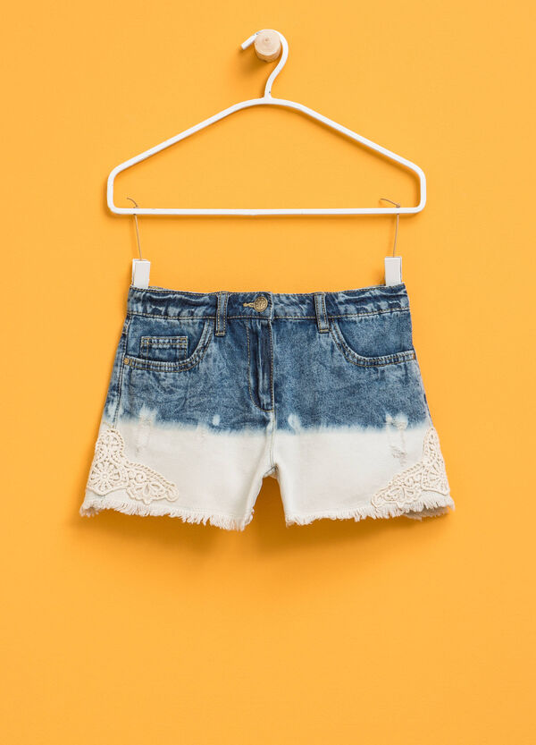 Two-tone denim shorts with lace | OVS