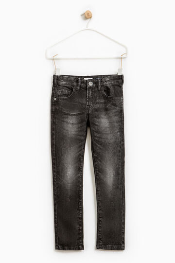 Jeans skinny fit stretch effetto used, Nero grafite, hi-res