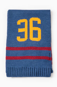 Solid colour scarf with embroidered lettering, Navy Blue, hi-res