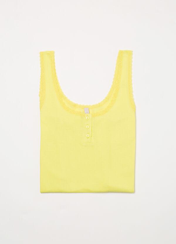 Solid colour cotton pyjama vest top | OVS