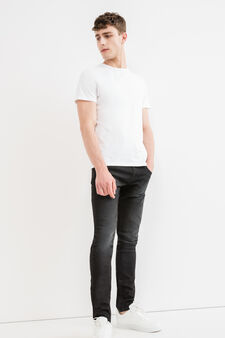 Faded, skinny-fit stretch jeans, Denim, hi-res