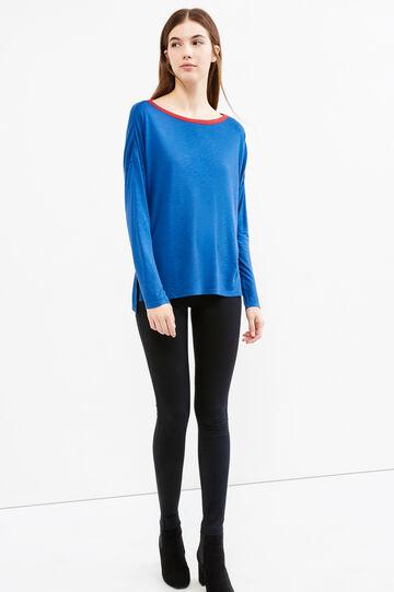 T-shirt pura viscosa maniche lunghe, Blu/rosso, hi-res