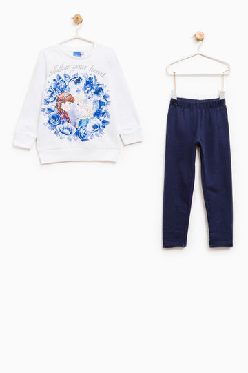 Stretch cotton tracksuit with Frozen print, White/Blue, hi-res